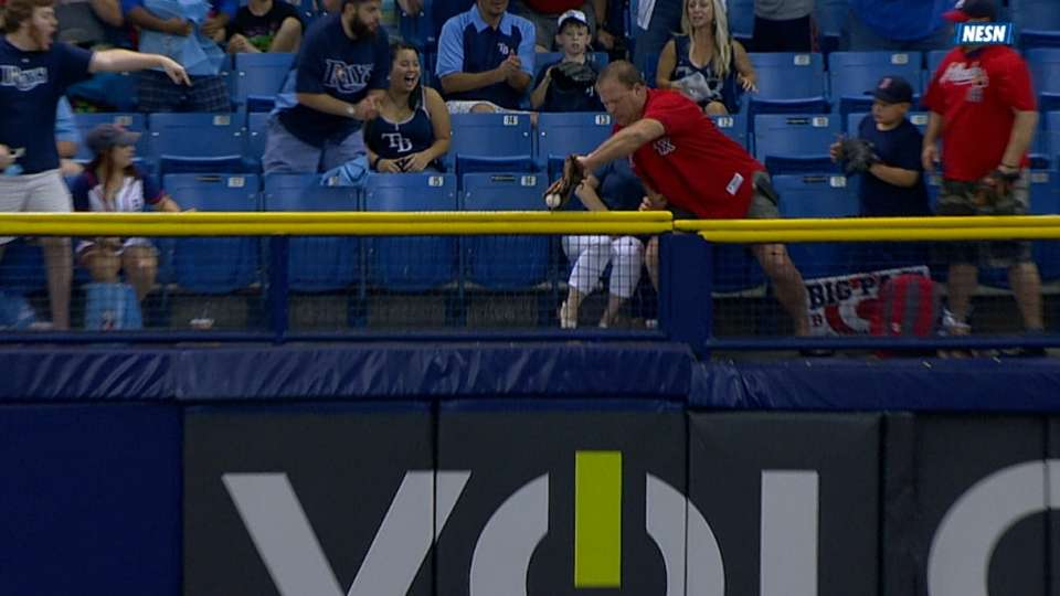 Umpires review fan interference