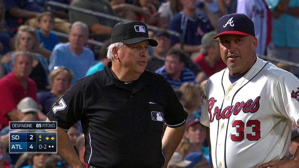Braves challenge foul call
