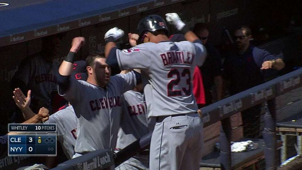 Brantley homers off foul pole