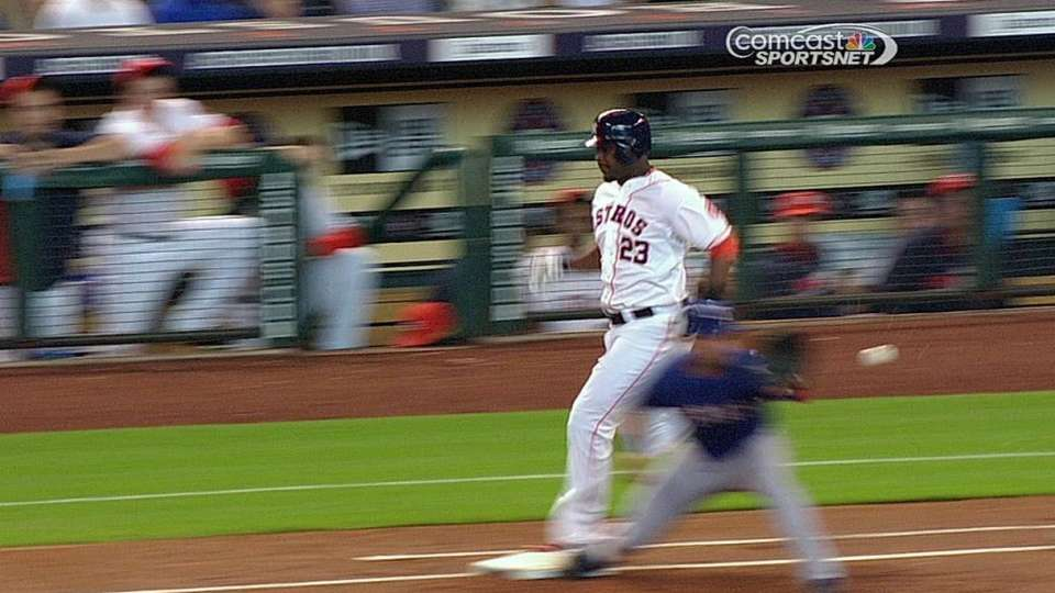 Astros challenge out at first