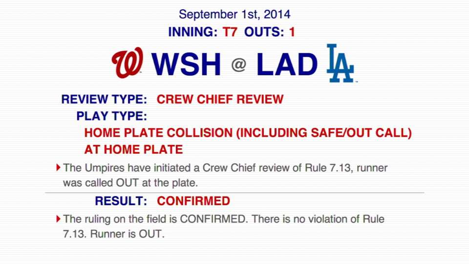 Review confirms out at the plate