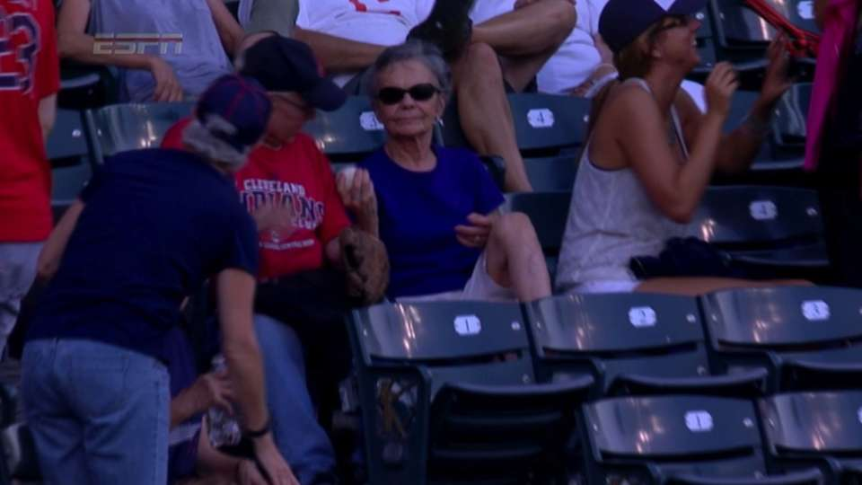 Fan gives husband foul ball