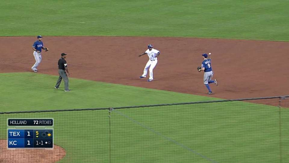 Rangers turn odd double play
