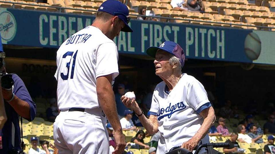 Centenarian throws first pitch