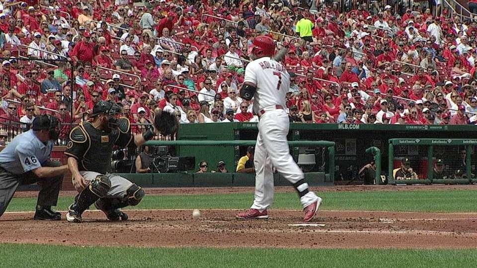 Holliday hit by a pitch