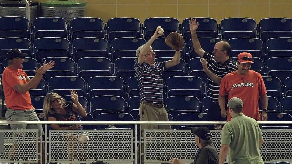 Fan excited after great catch