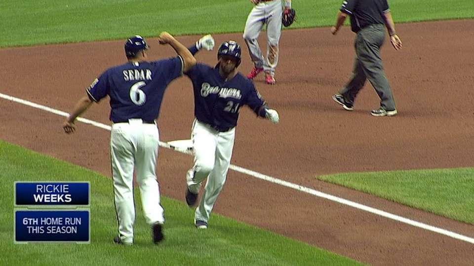 Weeks' pinch-hit home run