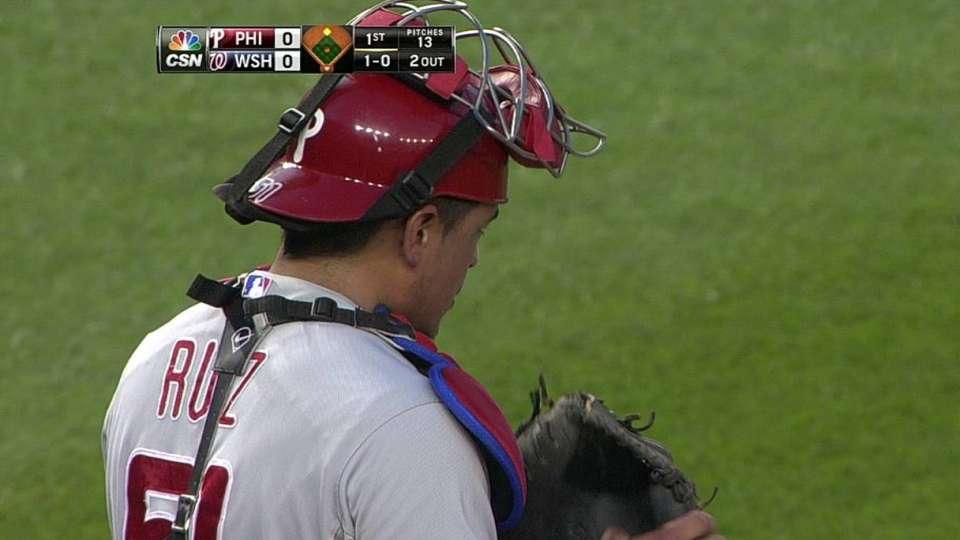 Ruiz catches Span stealing third