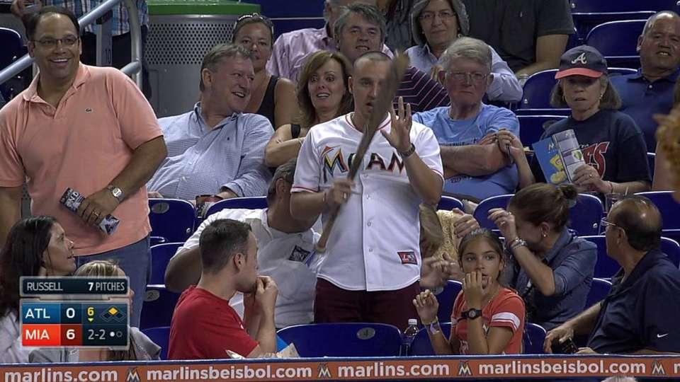 Yelich's bat flies into stands