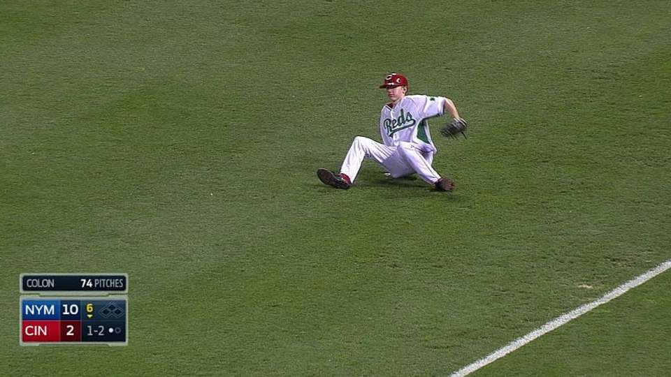 Reds' ball boy falls down