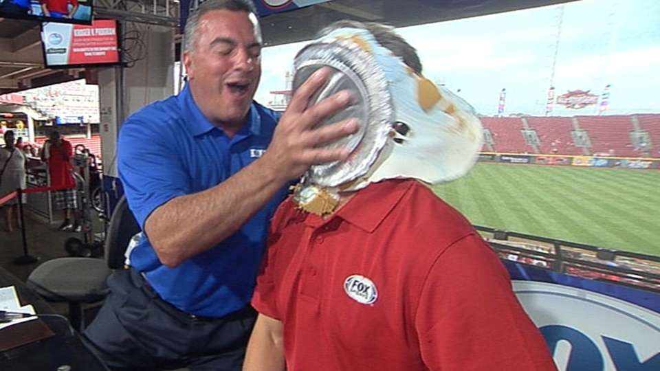Brennaman loses bet, gets pied