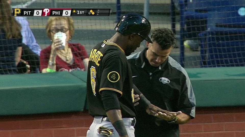 Marte gets hit by pitch