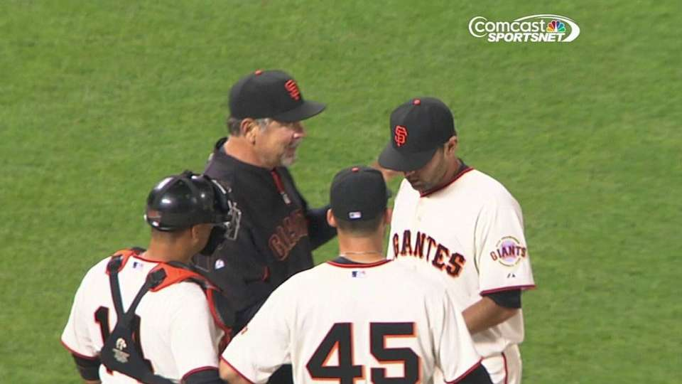 Bochy hands the ball to his son