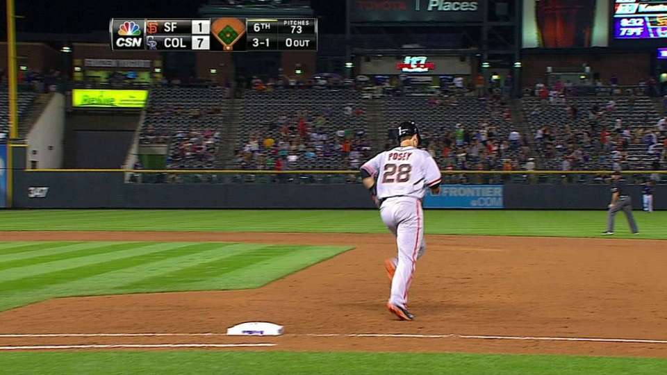 Posey crushes one to left