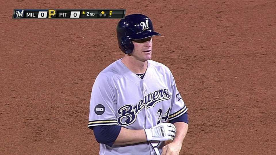 Lyle Overbay doubles (13) on a fly ball to right fielder Travis Snider.
