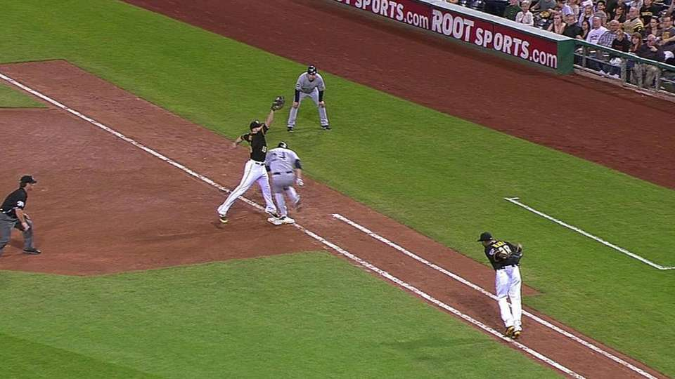 Lyle Overbay reaches on a throwing error by pitcher Edinson Volquez.