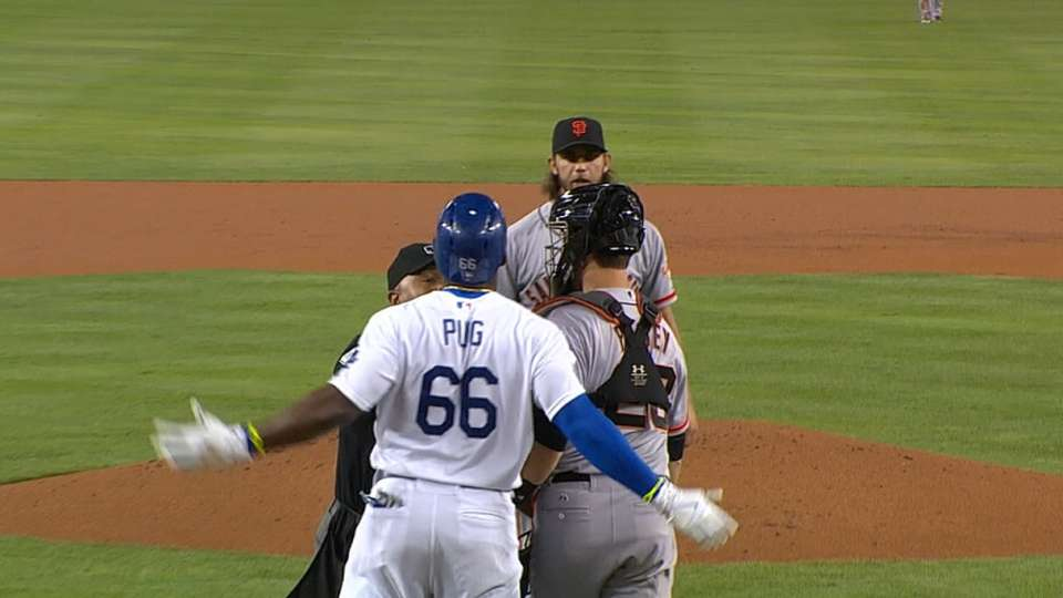 Puig hit-by-pitch, tempers flare
