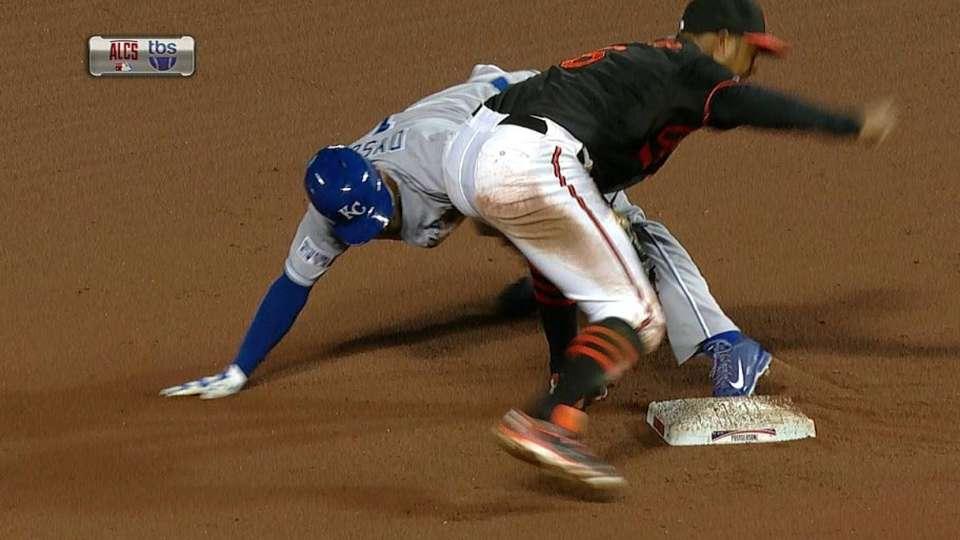 Dyson overslides second base