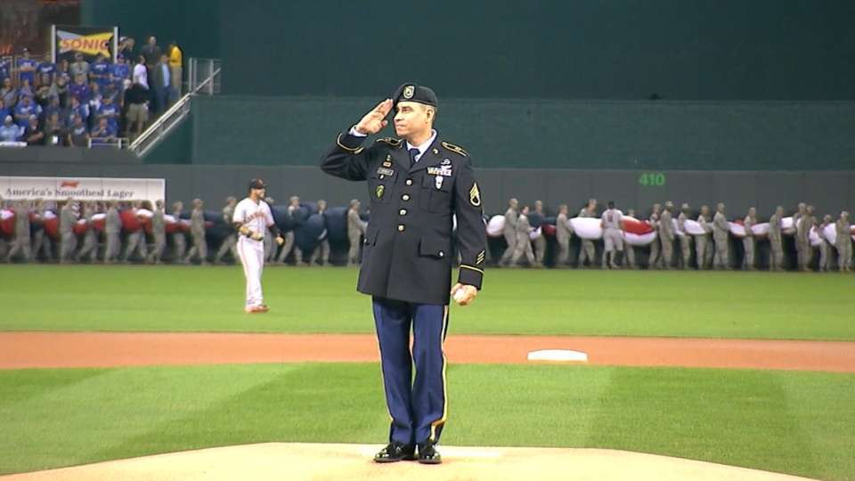 Staff Sgt. throws first pitch