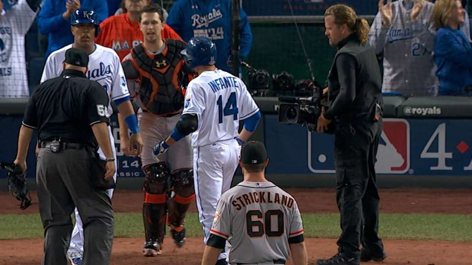 Infante homers, benches clear