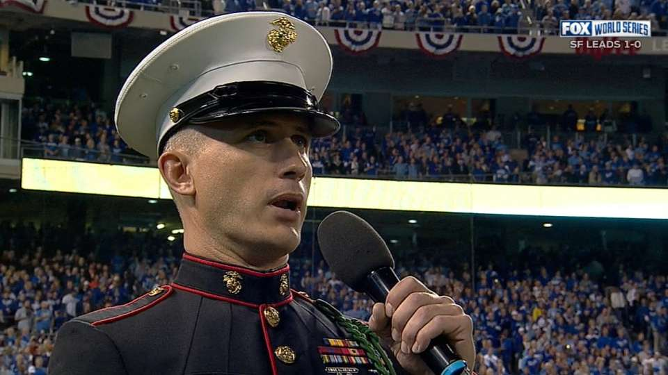 Cpl. Gibson sings during stretch