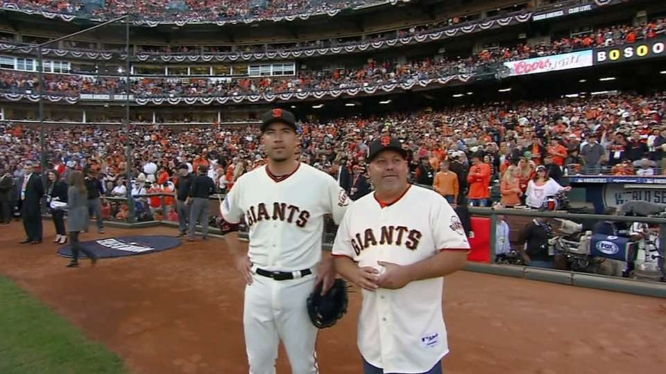 Giants fan throws first pitch