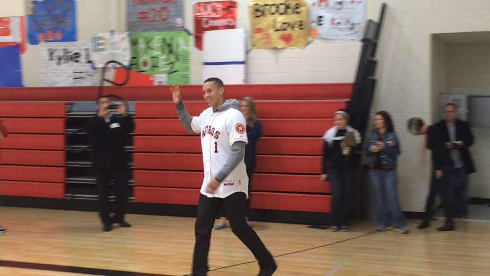 Carlos Correa attends Career Day