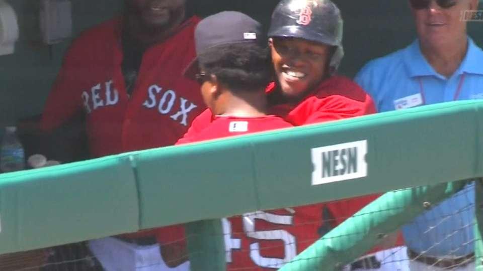 Hanley gets hug from Pedro