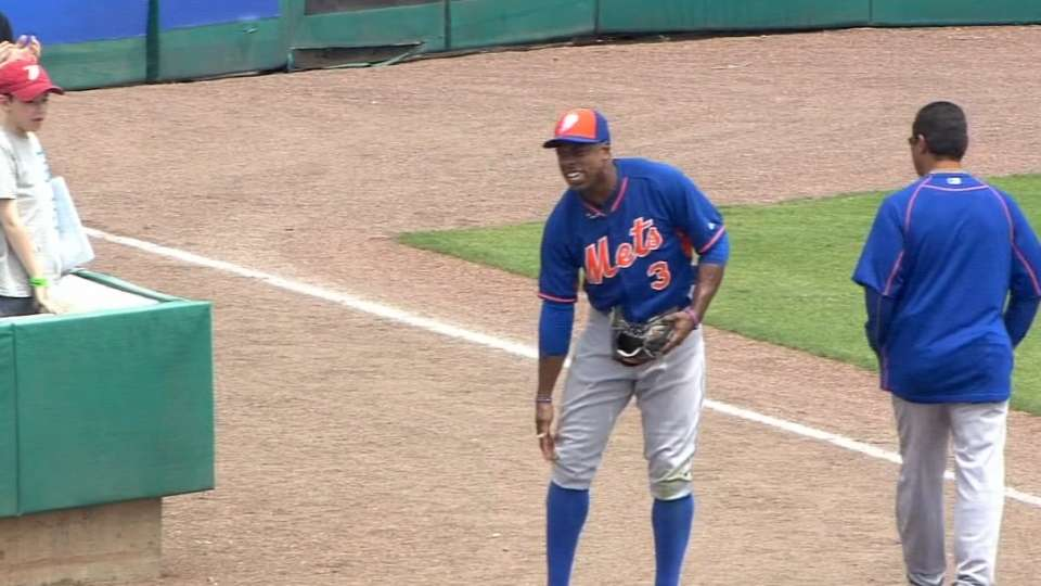 Granderson hit by pitch, exits