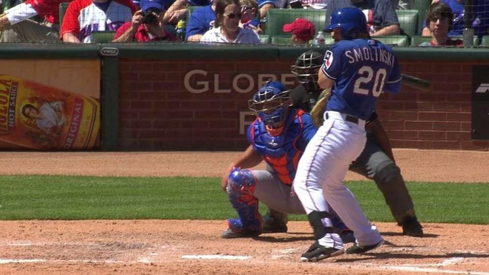 Smolinski is hit by a pitch