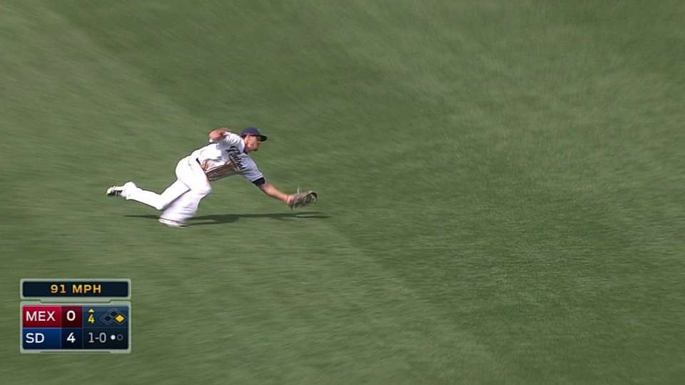 Myers dives, turns double play