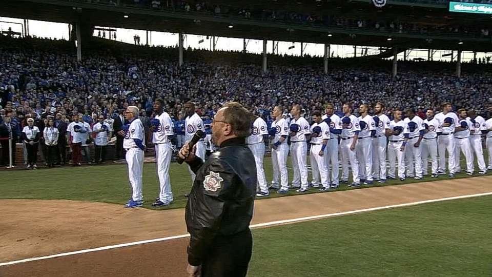 Messmer sings national anthem