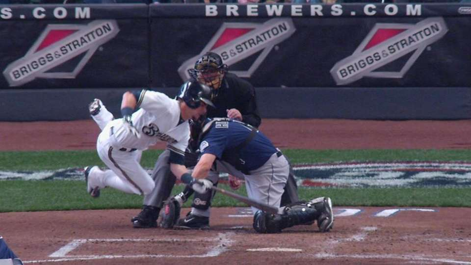 Gennett gets hit by a pitch