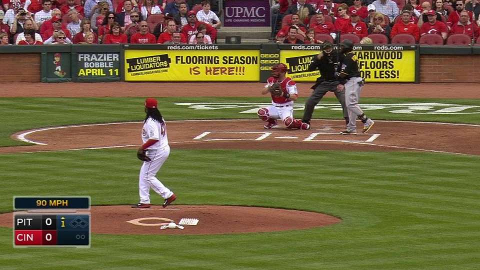 Cueto delivers first pitch