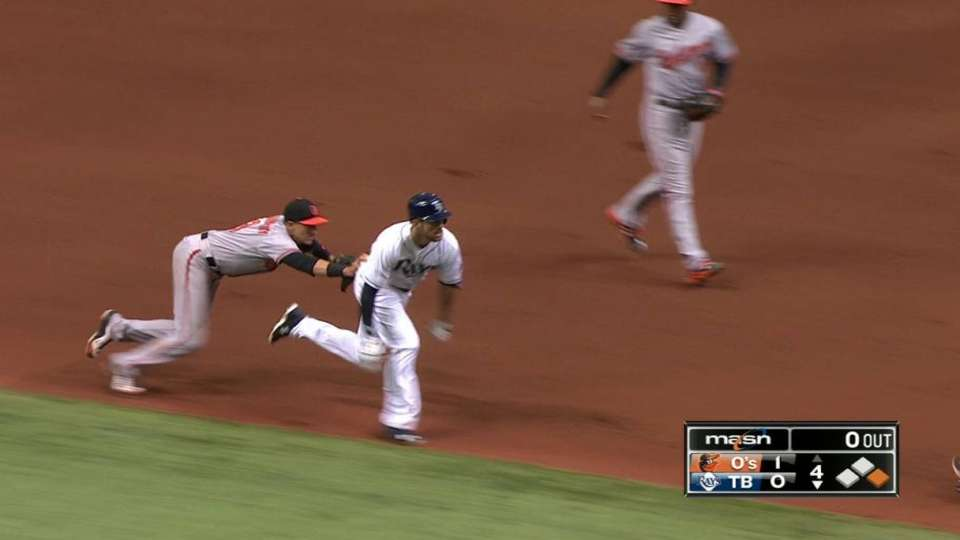 Orioles catch runner in a pickle