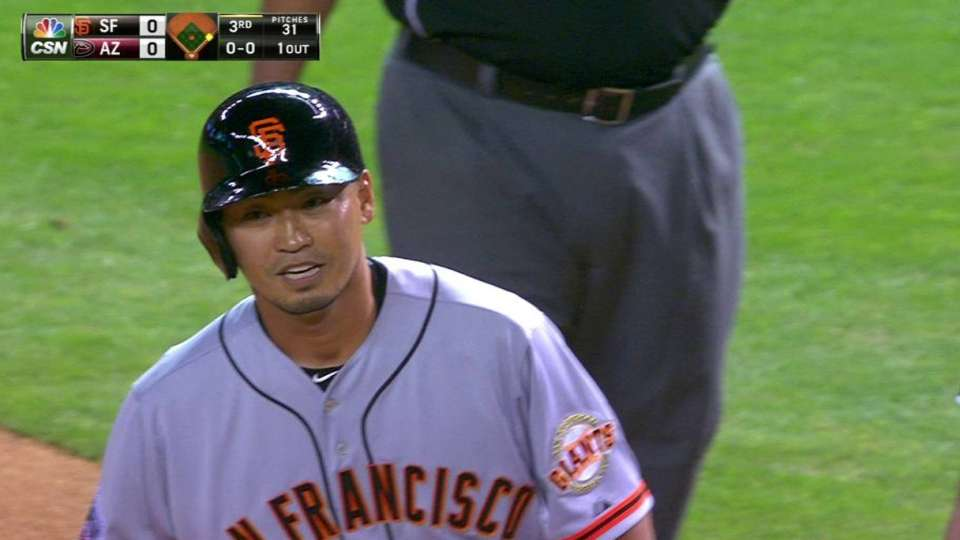 Aoki's first hit with Giants