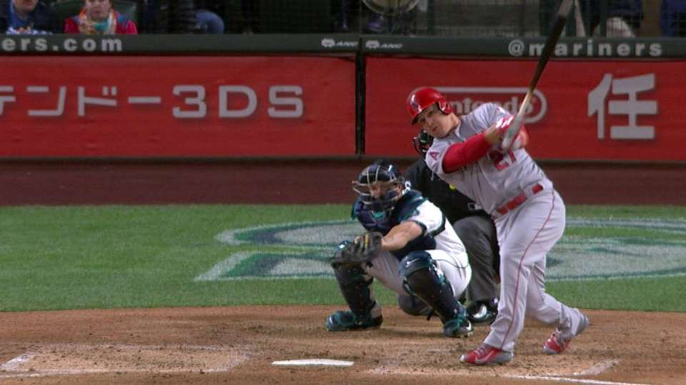 Trout's double in the 8th