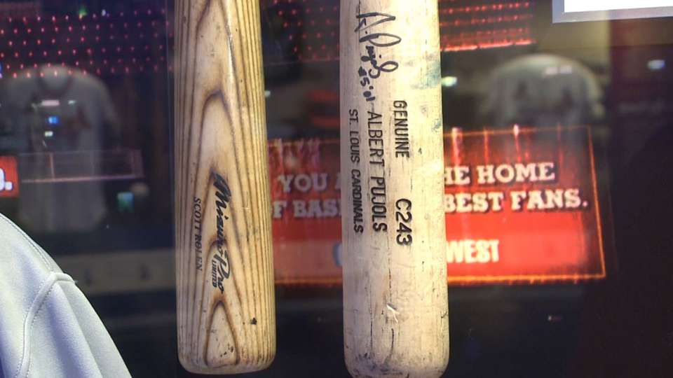 Pujols' rookie bat on display