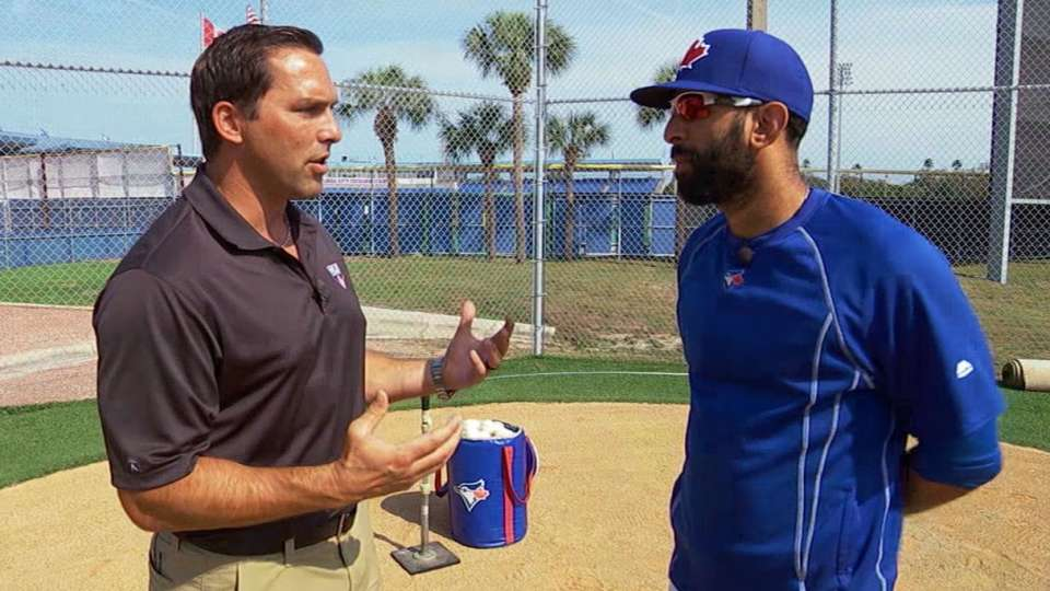 DeRosa chats with Bautista