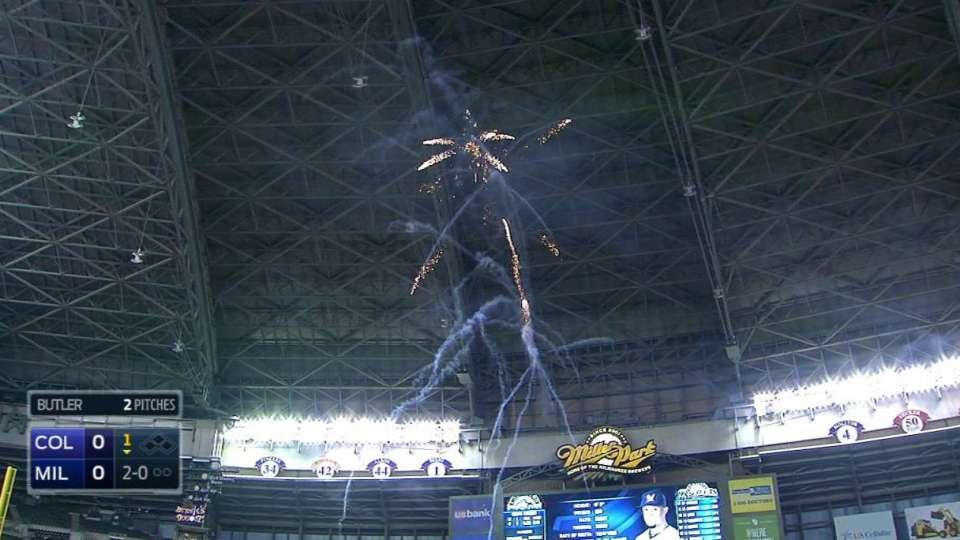 Fireworks disrupt Gomez's at-bat