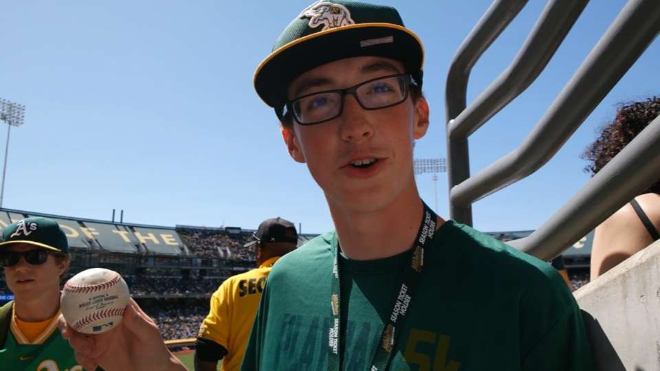 A's fan catches Ackley homer