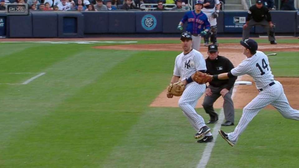 Drew's catch in foul territory