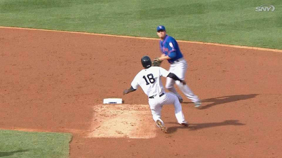 Drew scores on a double play