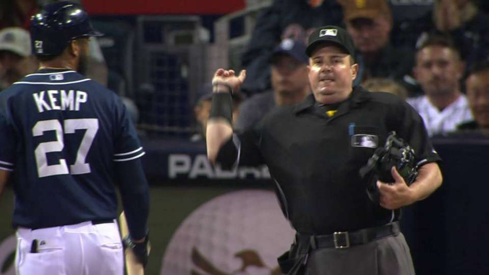 Kemp ejected following strikeout