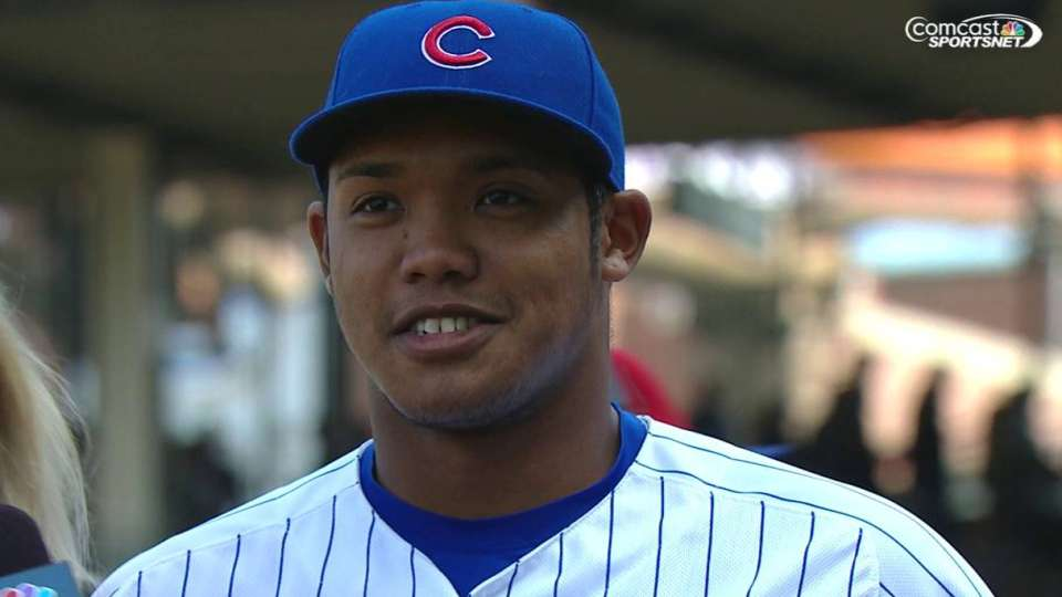 Russell on first career homer