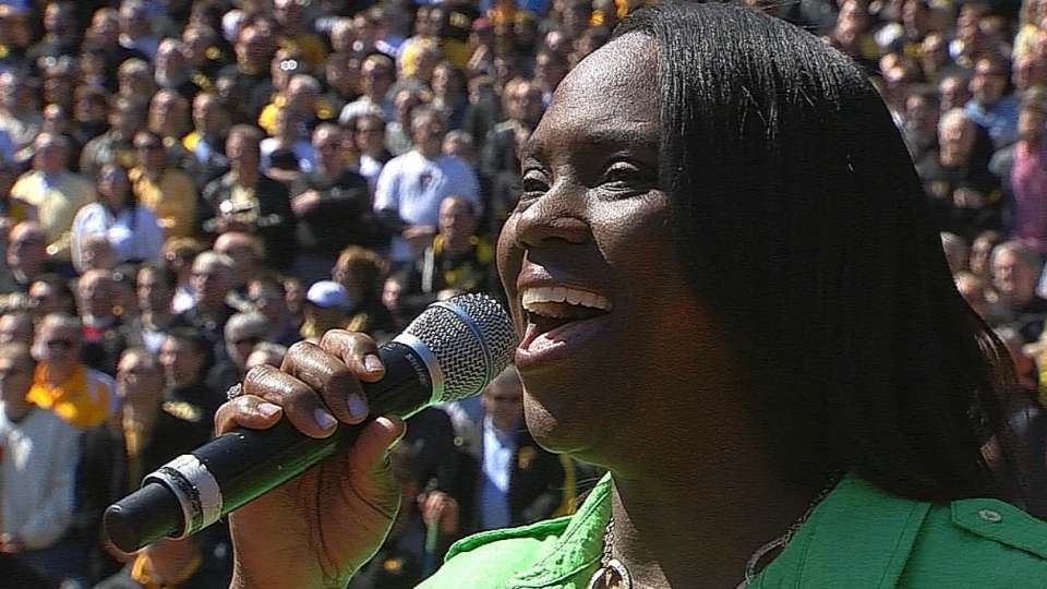 McCutchen's mother sings anthem