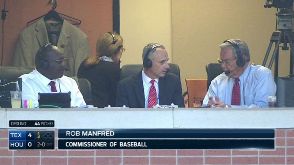 Manfred joins the Rangers' booth