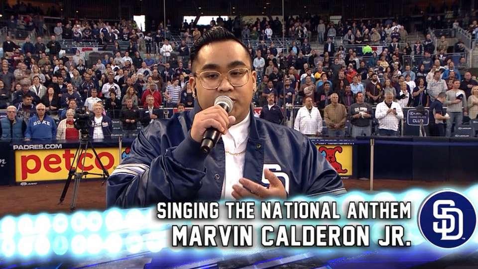 Calderon sings national anthem