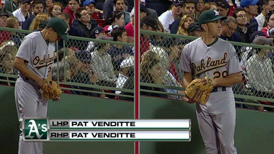 Venditte warms up with each arm