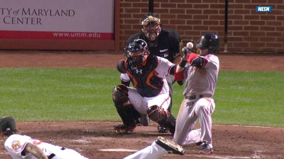 Pedroia hit by pitch